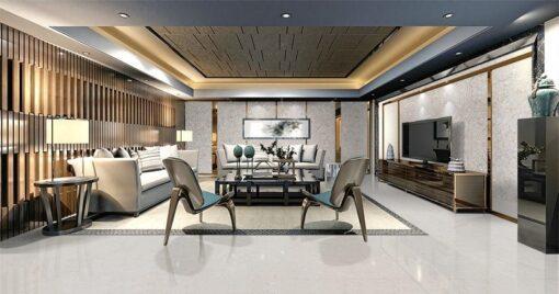 creme cork wall tiles and cork floor in a morden golden working room