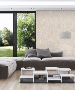 creme wall tiles forna cork living room with big windows