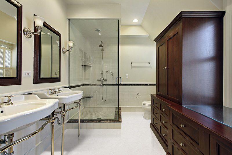 creme royal marble cork floors master bath luxury home glass shower