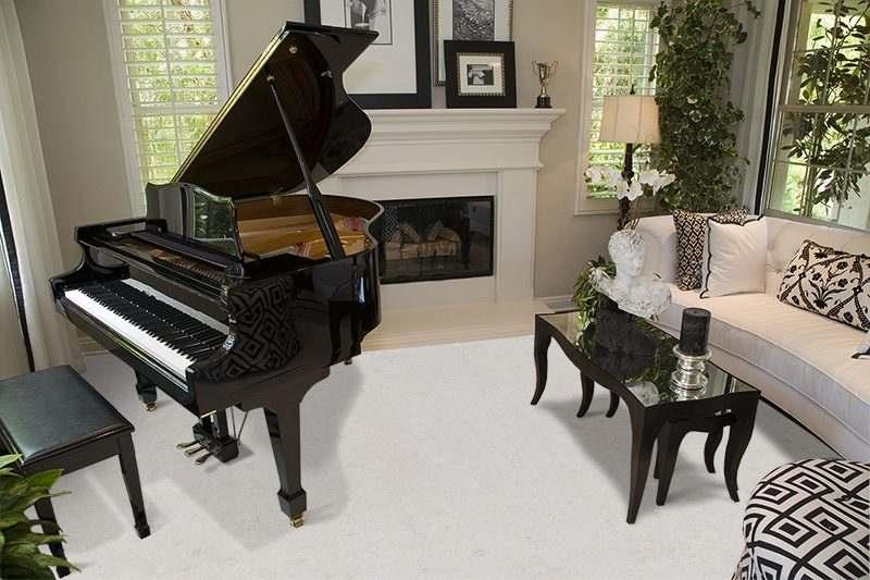 creme royal marble cork floors modern living room fireplace grand piano