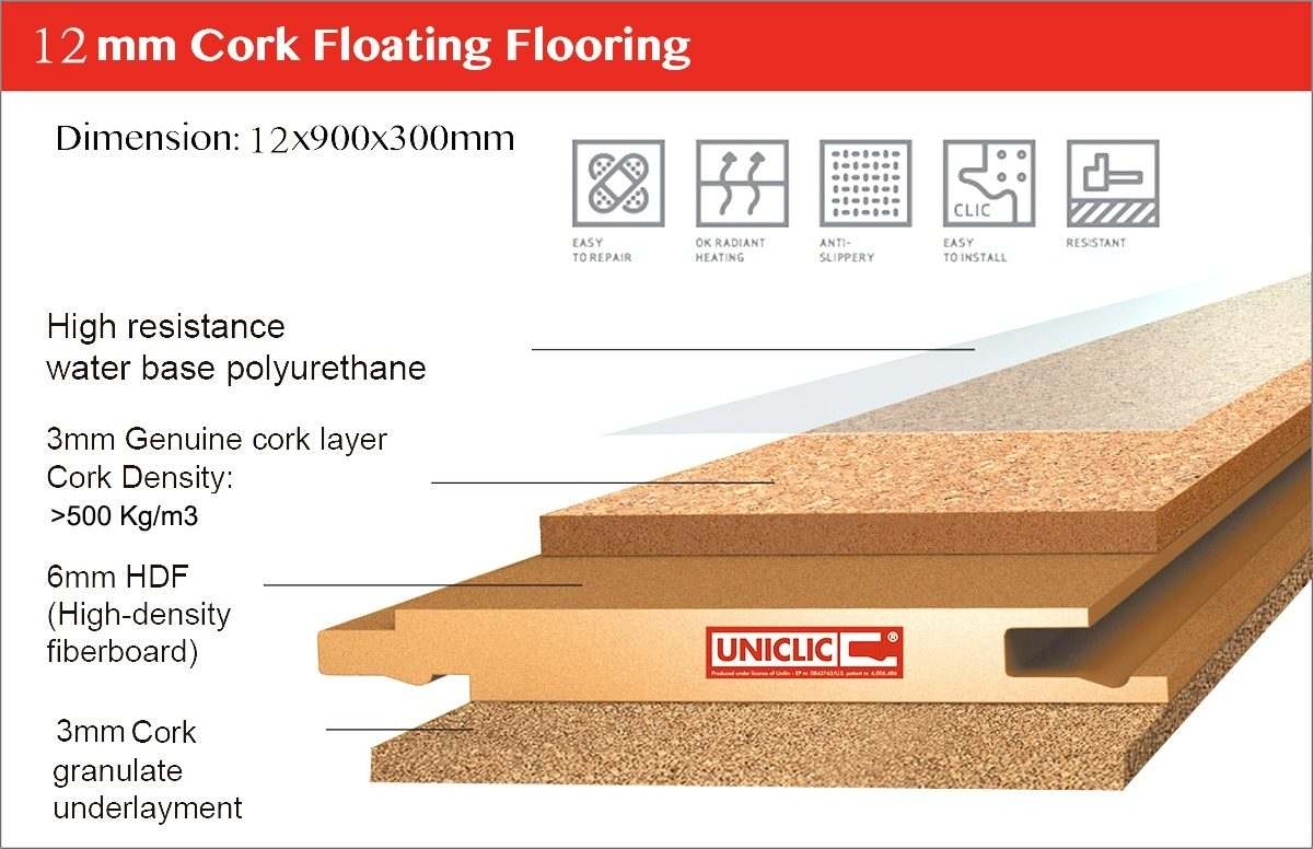 constructure 12mm floating cork flooring