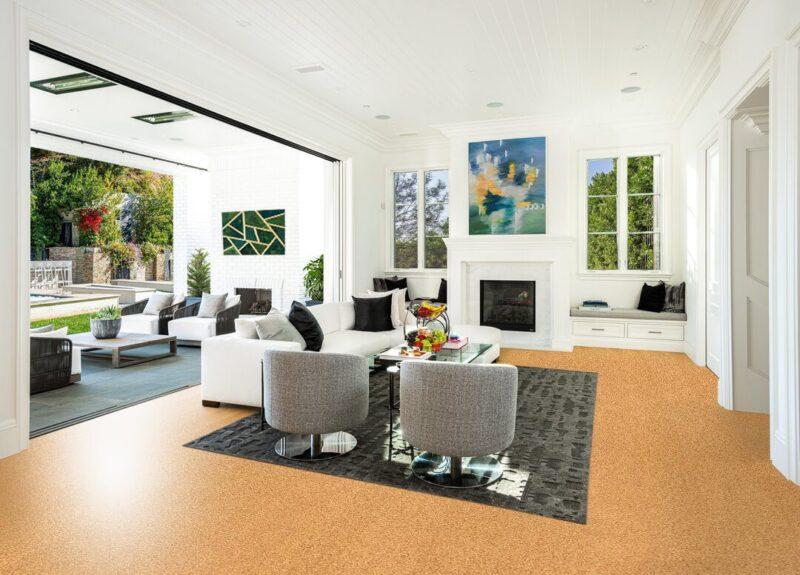 golden beach cork floor living room luxury decor