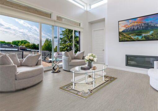 gray bamboo cork flooring contemporary living room fireplace