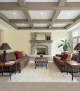 gray bamboo cork flooring family room wood beam ceiling