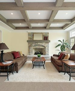 gray bamboo cork flooring family room wood beam ceiling