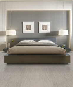 gray bamboo cork flooring modern one double bed front view