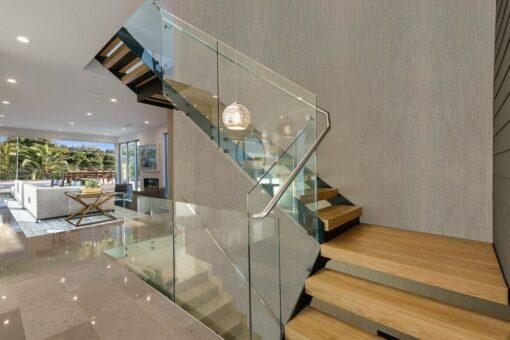 gray bamboo cork wall tiles staircase side design