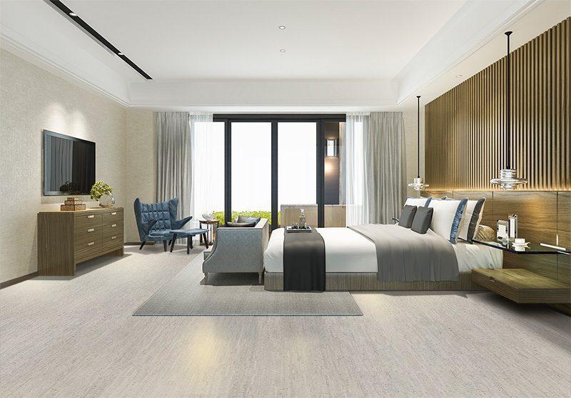 gray bamboo forna cork floor eco-friendly bedroom hotel design