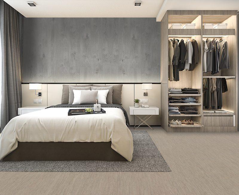 gray bamboo forna cork floor hotel luxury modern bedroom suite