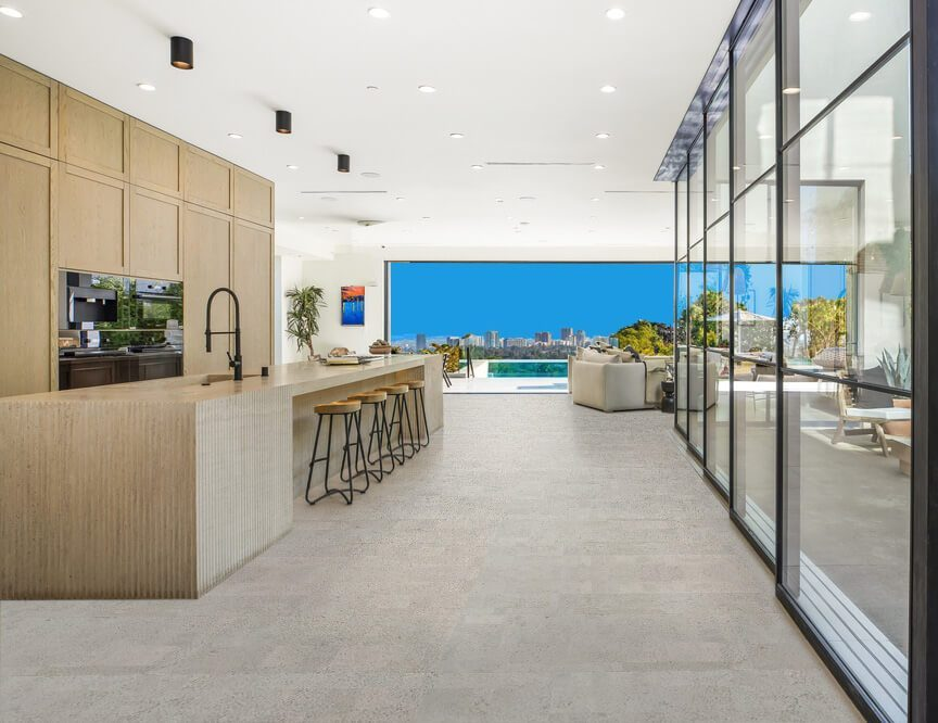 gray cork flooring gray leather modern house