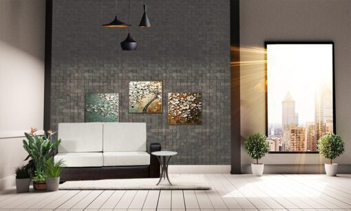 gray cubes acoustic cork wall panels peel and stick in living room