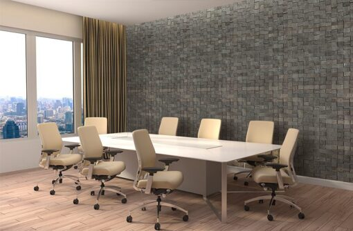 gray cubes harmony acoustic cork wall panels peel and stick in office meeting room