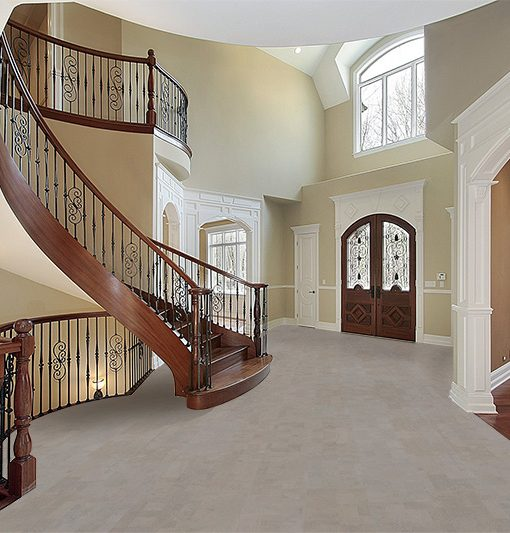 Gray Leather Cork Flooring Forna Foyer Curved Staircase