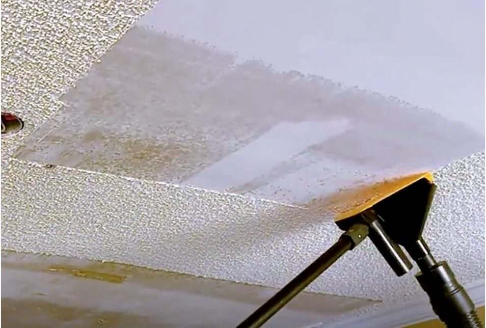 how to remove popcorn ceiling texture for cork ceilig tiles