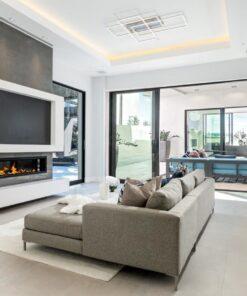 jet black cork wall tiles accent wall ideas living room