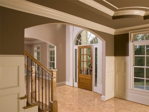 leather cork floor luxury home entrance way staircase
