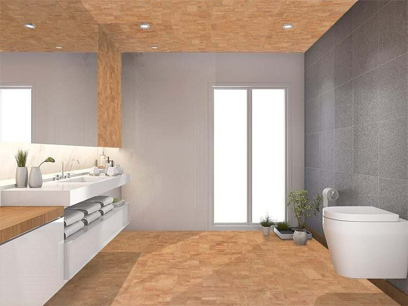 Charmant Leather Cork Floor Modern Wood Bathroom Toilet