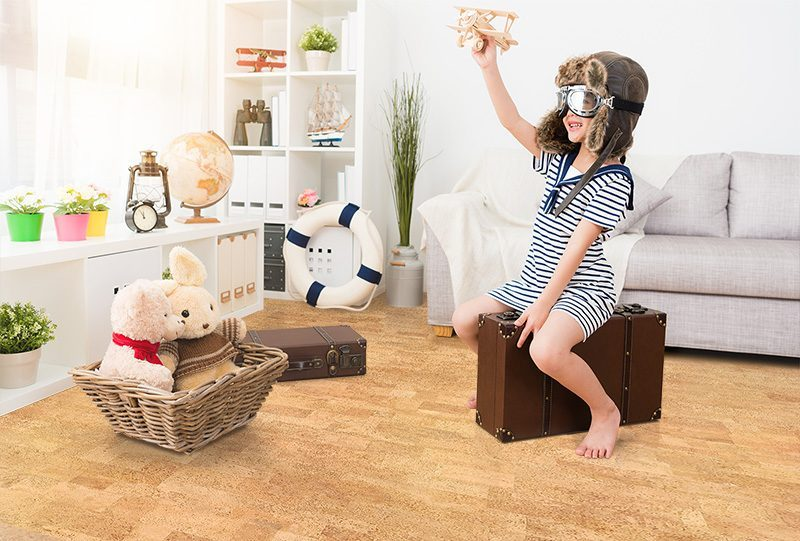 leather cork flooring kids play room low voc anti allergenic