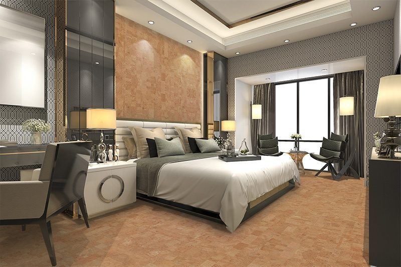 leather cork wall tiles luxury modern bedroom hotel suite ...