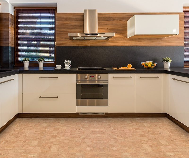 leather forna cork floor contemporary kitchen white cabinet ...