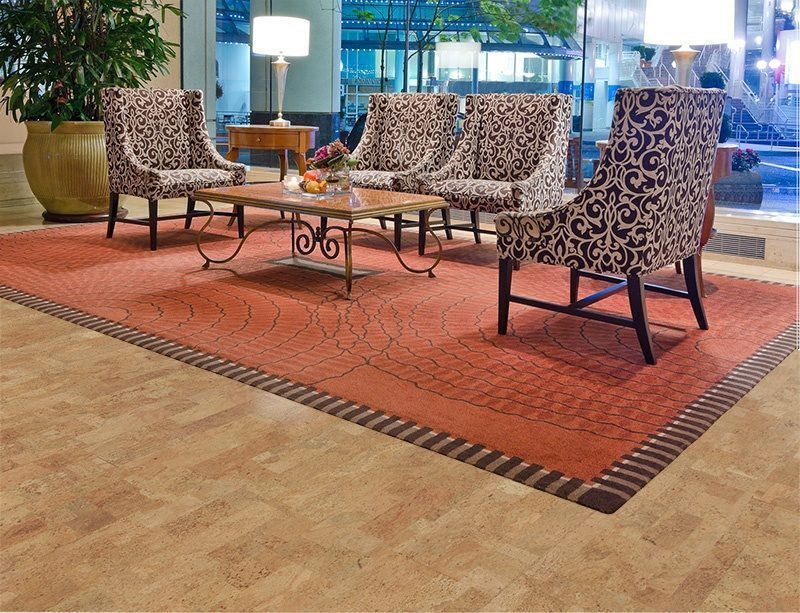 leather forna cork flooring lobby luxury five stars hotel Interior design