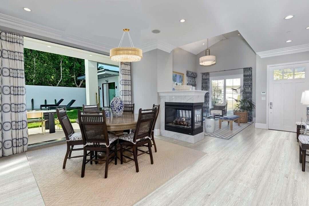 light grey oak design cork floor dinning room and family room