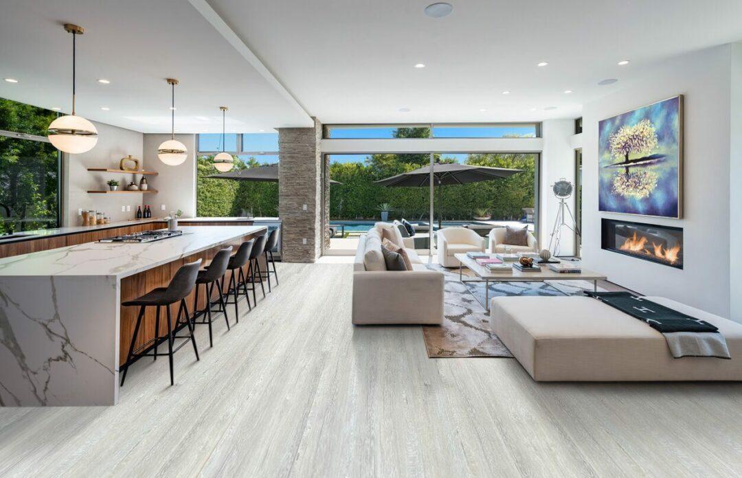 light grey oak design cork floors kitchen and living room