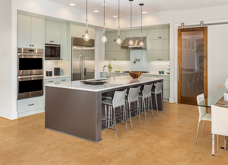 kitchen flooring with natural cork flooring material ...