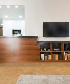 logan cork floor wooden counter modern new apartment interior