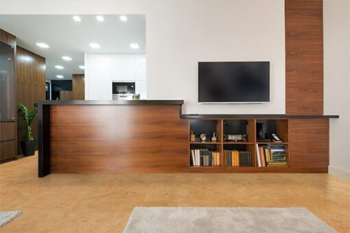 logan cork floor wooden counter modern new apartment interior