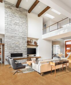 logan foran cork floors and fireplace in new luxury home