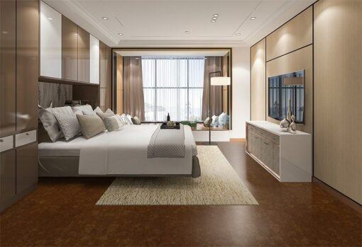 mahogany ripple forna cork floor hotel style decoration interior design ideas bedroom