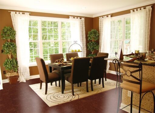 mahogany ripple forna cork flooring beautiful dinning room with lots of natural light