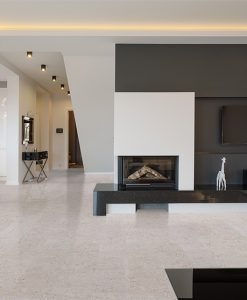 marble cork flooring big living room white black furnature