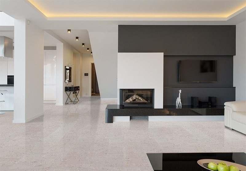marble cork flooring big living room white black furnature