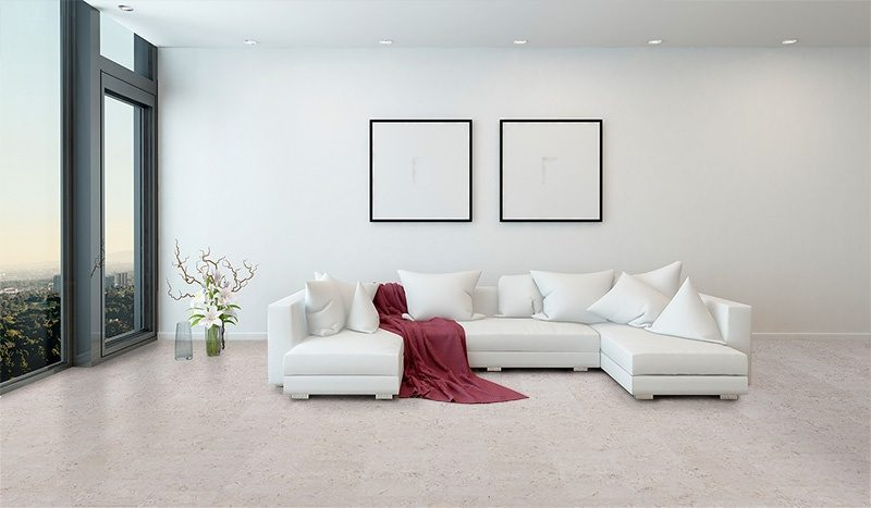 marble cork flooring elegance bright living room big window white
