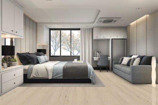 oak creme cork wood flooring luxury bedroom
