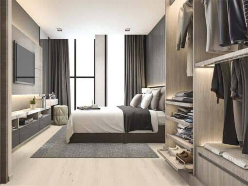 oak creme cork wood flooring luxury modern bedroom suite in hotel with wardrobe and walk in closet