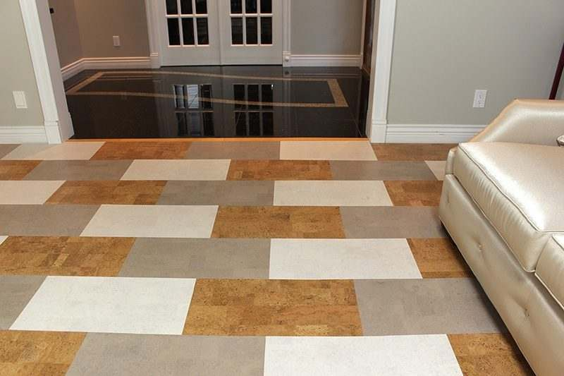 parquet floor gray leather white leather leather cork tile