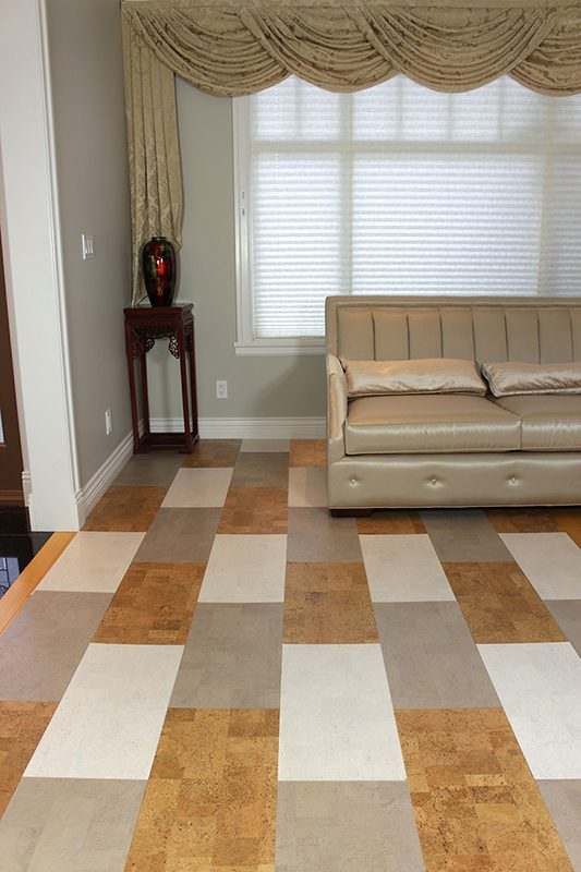 parquet floor gray leather white leather leather cork tiles