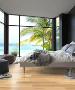 pine wood fusion cork floating flooring tropical bedroom interior with double bed and seascape view