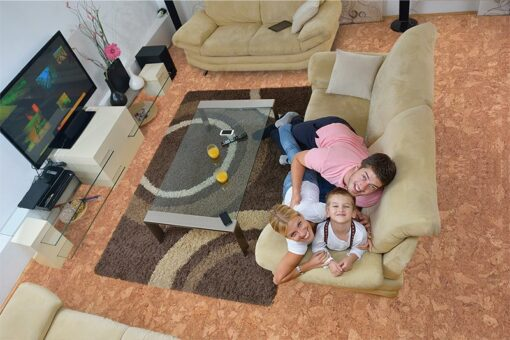 ripple beveled cork floor happy young family kids bright modern