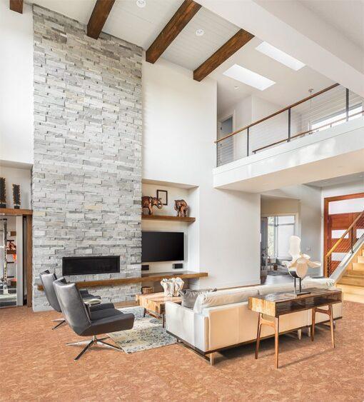 ripple beveled cork flooring beautiful living room fireplace