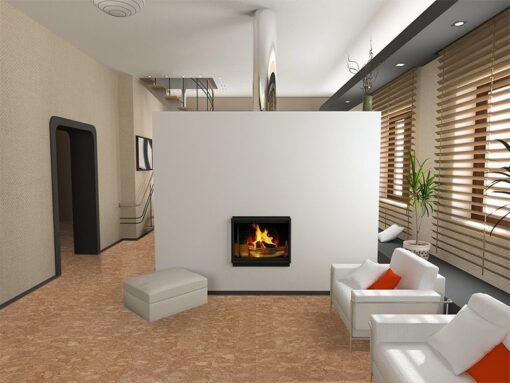 ripple beveled cork flooring modern interior design fireplace
