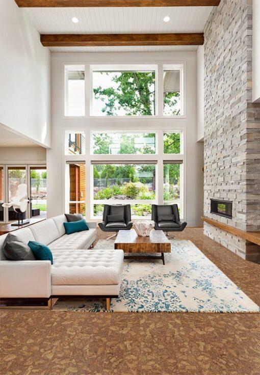 rocky bush beveled edges cork planks flooring beautiful living room interior