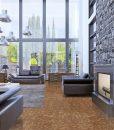 rocky bush beveled edges cork planks flooring loft apartment interior design panoramic window