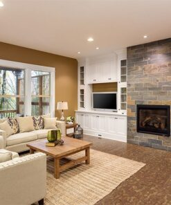 rocky bush cork flooring narrow planks cozy living room fireplace