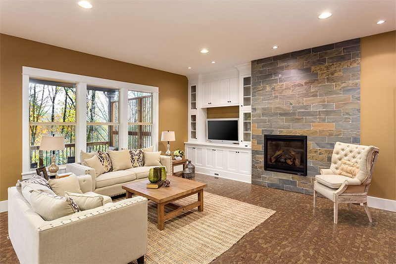 Delightful Rocky Bush Cork Flooring Narrow Planks Cozy Living Room Fireplace