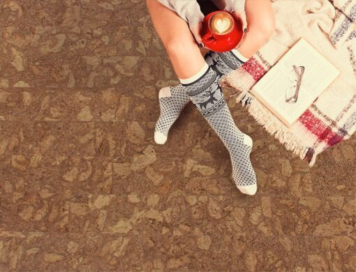 rocky bush cork floor warm to sit with book and coffee comfort winter holidays concept Best Flooring For Allergies