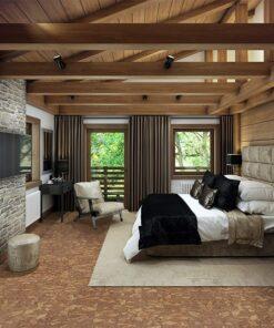 rocky bush forna cork floor cozy bedroom iattic chalet interior wood natural materials